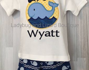 Boy's Whale Short Sleeve Top with Monogram and Whale Shorts Outfit Size 12M-18M, 2T-5T, 6