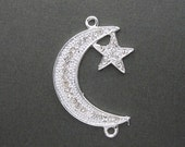 10% Sale Gemshow Crescent Moon Pendant -- Silver Tone Crescent Moon with Star Double Bail Charm Pendant with Rhinestone CZ Pave (S19B3-06)