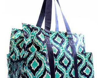 Monogrammed Large Ikat Utility Tote - TEACHER Bag - Carryall Tote -Utility Tote Bag - Pool Bag - Beach Bag - Summer Tote