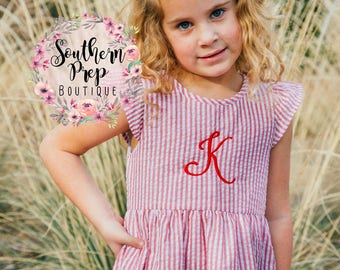 RED Girl's Custom Seersucker Monogram Dress - Girl's Summer outfit - Monogrammed - Birthday gift - Summer Dress