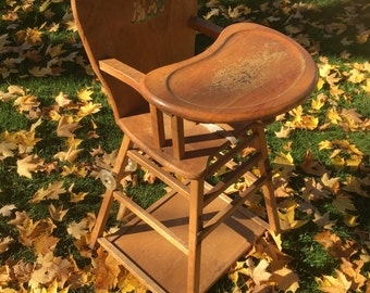 Vintage High Chair • vintage childs table and chair combo • wood highchair • convertible highchair • child photography prop