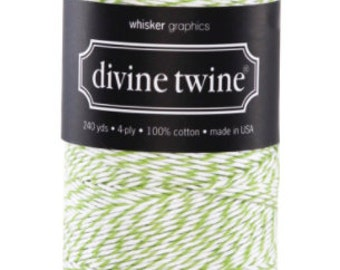 Green Apple and White Bakers Twine - 240 Yards, Divine Twine, Bakers Twine, Baby Shower, Wedding, DIY Craft Supplies