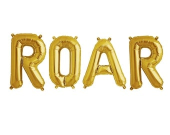 """ROAR Letter Balloons 16"""" Inch """"GOLD"""" or """"SILVER"""" Foil / Air Fill only Banner Balloons Set of 4 Balloons"""