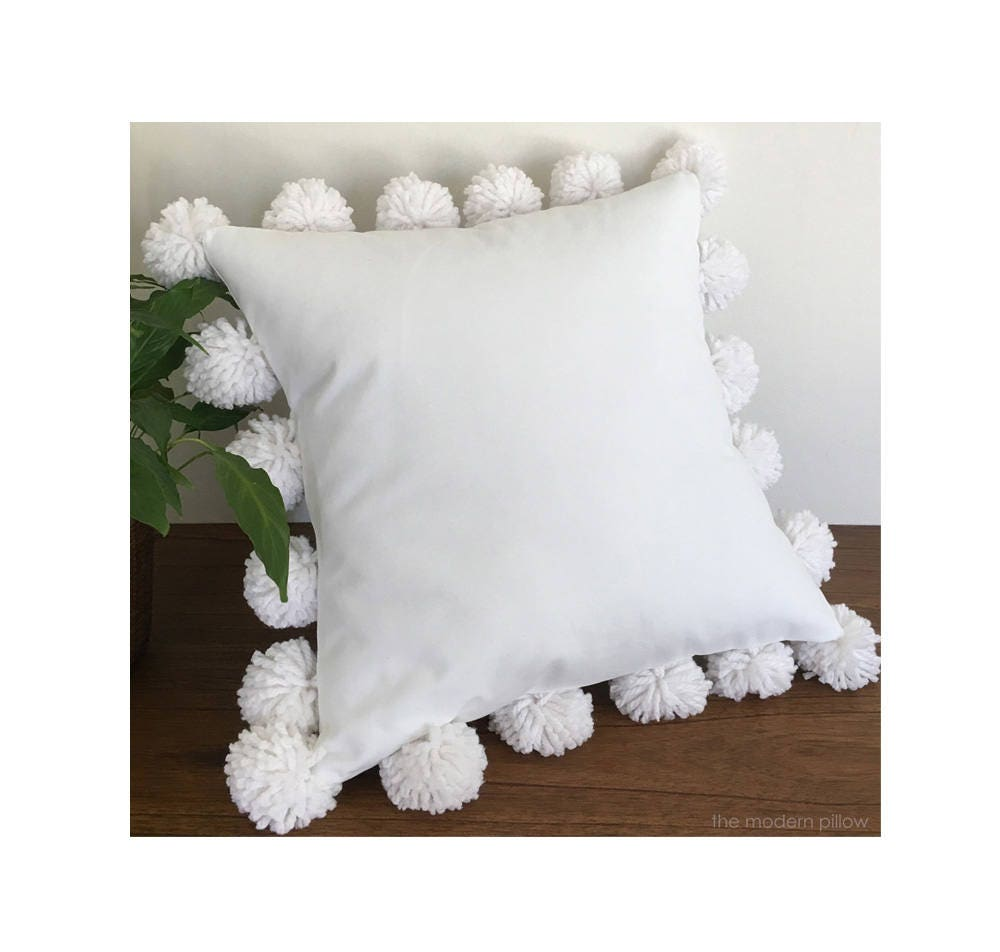 Throw Pillow White : White Pom Pom Decorative Throw Pillow / Cushion / Cotton
