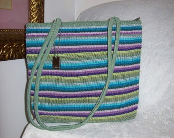 Vintage Ladies Multi Color Woven Shoulder Bag by Stone Mountain Only 12 USD