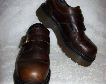 Vintage Ladies Brown Leather Buckle Loafers Slip Ons by Dr Marten UK Size 7 Only 25 USD