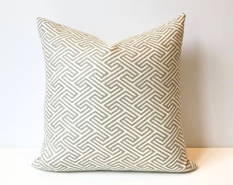 Taupe Gray modern geometric maze decorative pillow cover