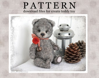 My new PATTERN Download to create teddy like Bear Cozy Grey Niko OOAK 8,5