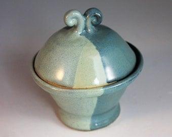Blue and green Salt Cellar - Salt and pepper - treasure box - North Carolina Pottery - ring holder