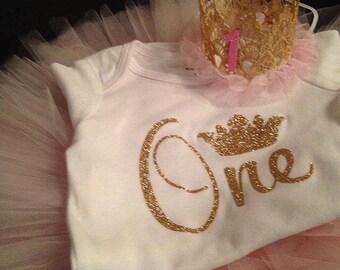 First birthday Onesie - 1st Birthday Shirt - Princess Onesie - Glitter Birthday Onesie - Photo Prop - Cake Smash - Glitter Birthday Onesie