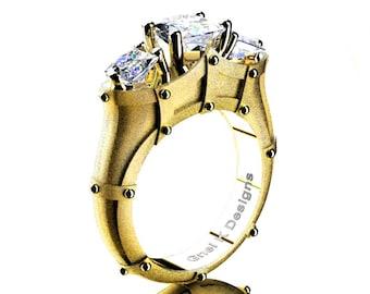 Gorgeous French 14K Yellow Gold Three Stone Princess White Sapphire Solitaire Ring R782-14KYGSSWS