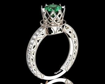 Classic Armenian 14K Rose Gold 1.0 Ct Emerald Diamond Engagement Ring R782-14KRGDEM