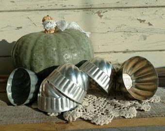 6 Antique Jello Molds - Vintage Set of 6 Mismatched Molds, Dessert Tool, Craft Supply, Organizing Tools, Drawer Organizing, Storage Supplies