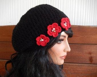Womens Hat Crochet Hat Slouchy Hat Winter Accessories Women Beanie in Black with Red Crochet Flower by creationsbyellyn