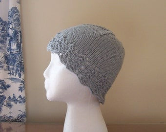 Chemo Hat Cotton Sleep Cap for Women, Hand Knit in Dove Grey, soft yarn with lace edge accent, ready to ship