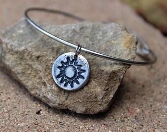 Sun Charm - Mantra Bangle Bracelets - Interchangeable - Bangle Charm Bracelets - Sun Silver Charm for Bangle Bracelet - Sun Charm