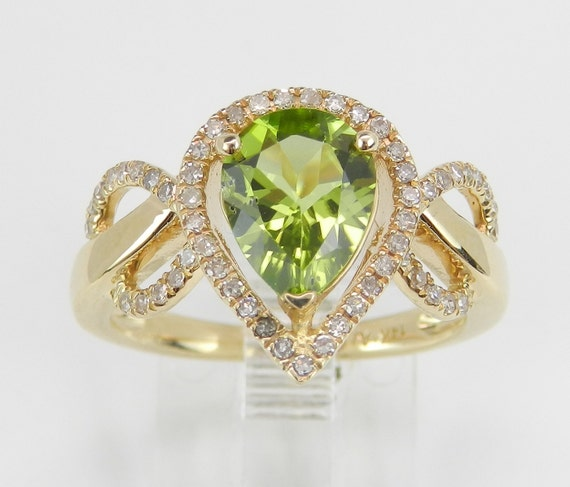 Peridot and Diamond Halo Engagement Ring 14K Yellow Gold Size 7 August Gem