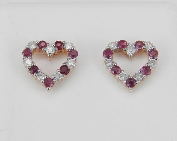 Ruby and Diamond Heart Stud Earrings Wedding Love Gift 14K Rose Gold July Gem