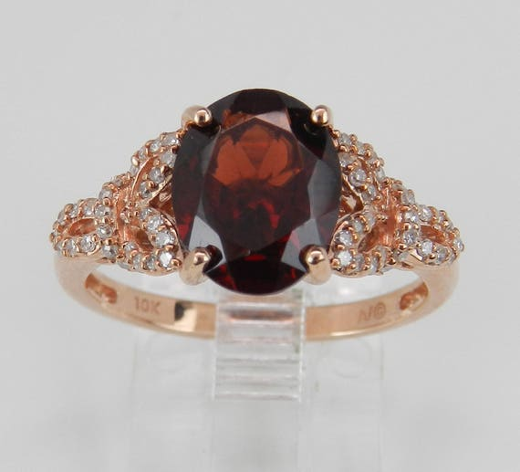 Garnet and Diamond Engagement Ring Promise Ring Rose Gold Size 8 January Birthstone