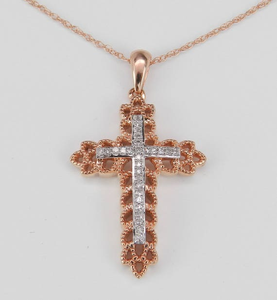 "Diamond CROSS Pendant Necklace Religious Charm 18"" Rose Gold Chain"