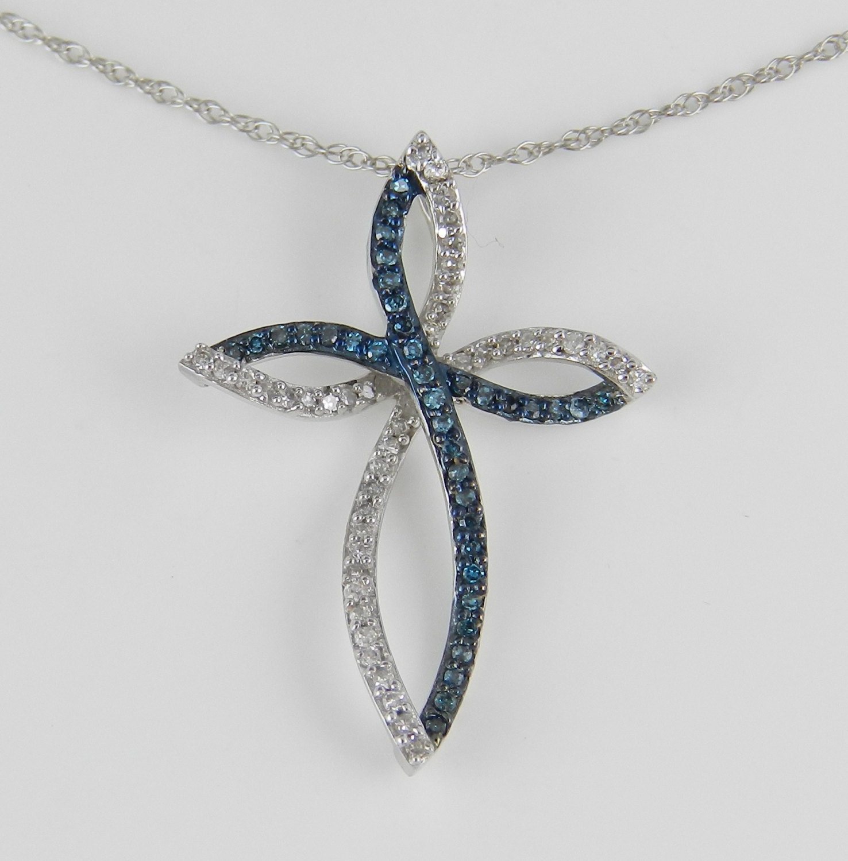 fancy blue diamond cross pendant necklace white gold 18. Black Bedroom Furniture Sets. Home Design Ideas