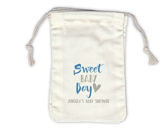 Sweet Baby Boy Personalized Baby Shower Cotton Bags for Favors in Medium Blue and Gray - Ivory Fabric Drawstring Bags - Set of 12 (1039)