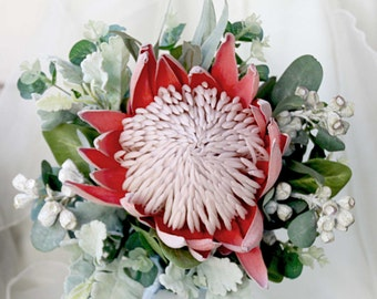 Bride, bridesmaid, flowergirl bouquet. Rusty red King protea, grey gumnuts and Australian native foliage. Small rustic wedding bouquet