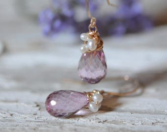 Pink Topaz with Freshwater Pearl Wire Wrapped Earrings
