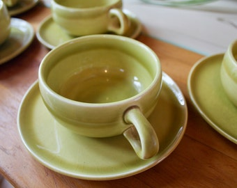 Russel Wright Set of 5 Coffee Cups & Saucers Chartreuse Green Mid Century