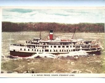 S.S. Rapids Prince, Canada Steamship Postcard, Unmarked Postcard