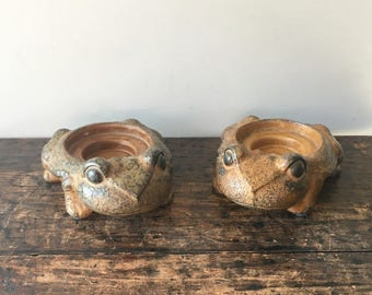 Vintage Pair of Ceramic Frog Candleholders