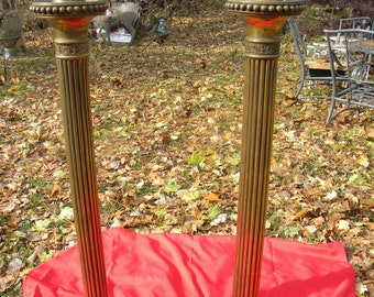 scarce matching pair of solid brass or bronze vintage antique electrified SANCTUARY FLOOR LAMPS pick up only