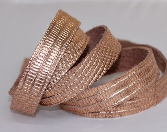 7-10mm Genuine Leather Strap, Rose Gold Leather, Snakeskin Embossed  1 Yard