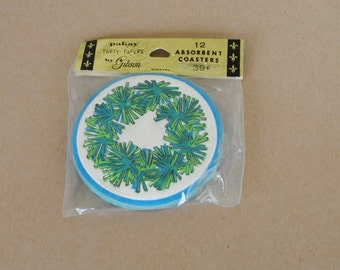 Vintage Gibson Party Drink Absorbent Coasters Blue Green