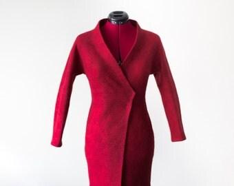 Felted coat for Women | wool coat | marsala coat | red wool coat | spring coat | felted wool coat