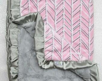READY TO SHIP Minky blanket, baby girl blanket, baby gift, Herringbone blanket, Pink and grey, Custom minky, luxe hide, pink and grey
