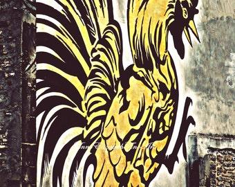 French Country Wall Art, Rooster Print, Graffiti Art, Montreal, Parisian, Kitchen Photography, Food Print, Fashion Wall Art, Rustic, Street