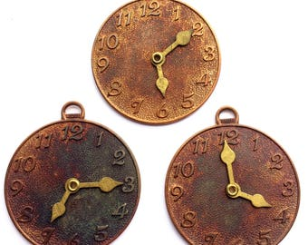 Vintage Brass Clock Face, 3 Piece, Moving Hand Design, Gingerbread Brass, Vintage Jewelry Supplies, Steampunk, Bsue, 50 x 45mm, Item02327