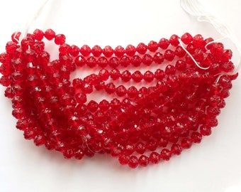 Vintage Glass Beads, 300 Beads, Rose Beads, Czech Preciosa Glass Beads, Jewelry Making, Cherry Red, B'sue Boutiques, 8 x 8mm, Item02931