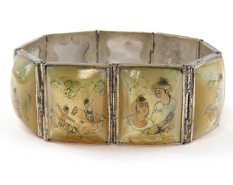 Vintage Silver Persian Story Bracelet Hand Painted Mother of Pearl