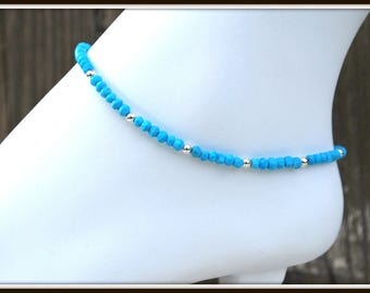 Turquoise Anklet, Turquoise Ankle Bracelet, Gemstone Anklet, Ankle Jewelry, Faceted Gemstone Anklet, Turquoise Body Jewelry