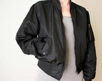 black BOMBER jacket unisex small ma-1 flight