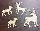 "4 Cute Deer, 2 Bucks, 2 Doe, Light Brown, Cardstock, 2 are 3"", 1 is 2"", 1 is 1"", Handmade, Sizzix, Card for Men, Any Color"