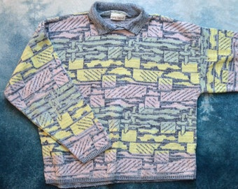 Vintage 80s Pastel Geometric Patterned Collared Sweater