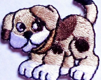 embroidered iron on applique-DOG BROWN