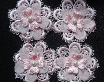 sew on applique pink color set of 4