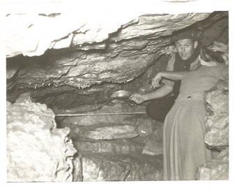 "Vintage Snapshot ""Spelunking"" Caves Rock Formations Geology Rear View Woman Found Vernacular Photo"
