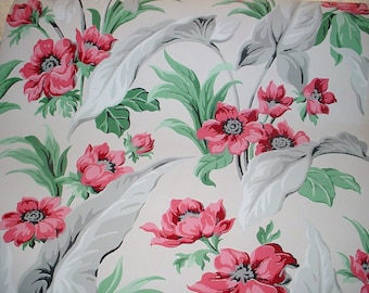 Vintage Wallpaper Bold Floral Graphics Red Flowers 1940s Barkcloth Era Vintage Supplies