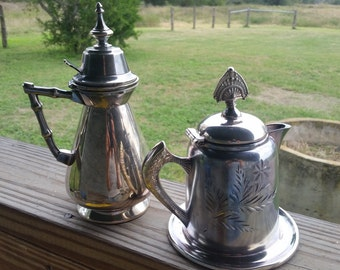 Victorian Silver Plated  Meriden Small Creamer Syrup Pitchers Pair Civil War Patent Date.