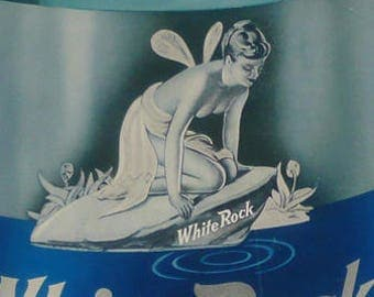 White Rock Club Soda Sparkling Water 1940's Beverage Psyche Fairy Mascot Girl Pin Up Advertising Icon Display Ephemera Cardboard Stand Up